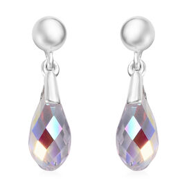 J Francis AB Crystal from Swarovski Drop Earrings with Push Back in Sterling Silver
