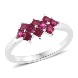 One Time Deal - Designer Inspired Lab Grown Ruby (Princess Cut) Ring in Sterling Silver 0.750 Ct