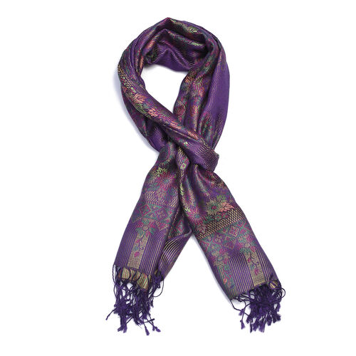 100% Silk Dark Purple, Green and Multi Colour Floral and Paisley Pattern Scarf (Size 180x70 Cm)