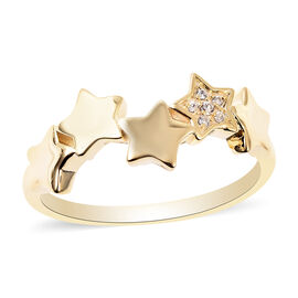 RACHEL GALLEY Natural Cambodian Zircon Stars Ring in Yellow Gold Overlay Sterling Silver