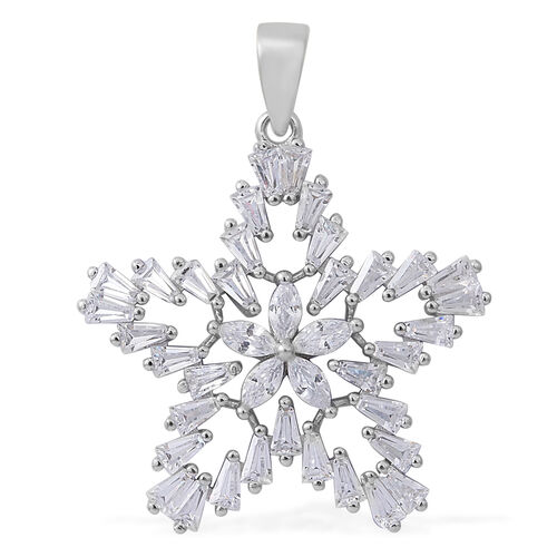ELANZA AAA Simulated White Diamond (Mrq) Star Pendant in Rhodium Plated Sterling Silver