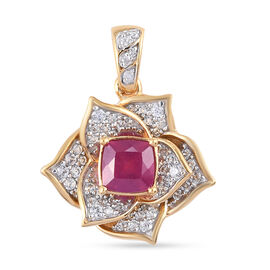 GP Italian Garden Leaf and Flower - African Ruby, Natural Cambodian Zircon and Blue Sapphire Floral