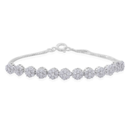 One Time Deal-ELANZA AAA Simulated White Diamond (Rnd) Floral Bracelet (Size 7.5) in Rhodium Plated Sterling Silver