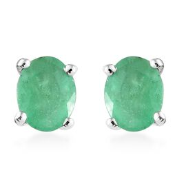 WEBEX- 9K White Gold (Ovl), Kagem Zambian Emerald Stud Earrings 0.600 Ct.