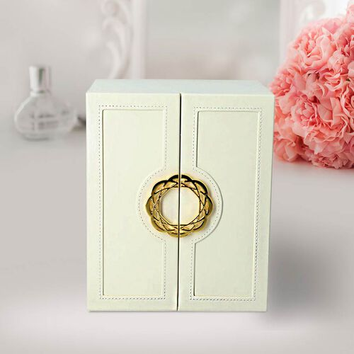 Five-Layer Jewellery Box (Size 20x18.3x24cm) with Wreath Inspired Handles in Cream