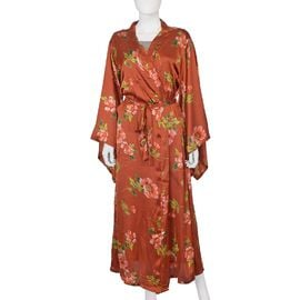 Designer Inspired-Floral Printed Robe (Size 139x122 Cm) - Amber Colour