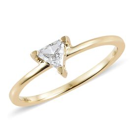 One Time NY  CloseOut-14K Yellow Gold Diamond (Trl) (I1-I2/G-H) Solitaire Ring 0.200 Ct.