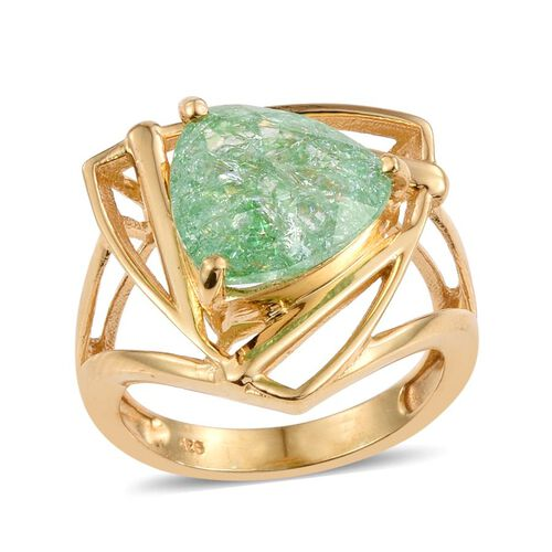 Emerald Green Crackled Quartz (Trl) Solitaire Ring in 14K Gold Overlay Sterling Silver 5.000 Ct. Silver wt 5.09 Gms.