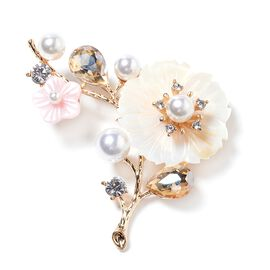 Simulated Champagne Diamond, Simulated Pearl, Natural Colour Shell and White Austrian Crystal Flower Brooch in Yellow Gold Plated
