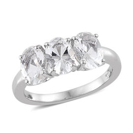 Extremely Rare Size-Petalite (Ovl 7x5 mm) Trilogy Ring in Platinum Overlay Sterling Silver 1.750  Ct