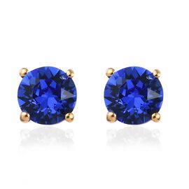 J Francis - Crystal from Swarovski Sapphire Colour Crystal (Rnd) Stud Earrings (with Push Back) in 1