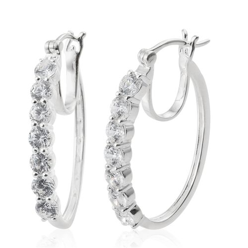 J Francis - Sterling Silver (Rnd) Hoop Earrings (with Clasp) Made with SWAROVSKI ZIRCONIA, Silver wt 5.60 Gms.