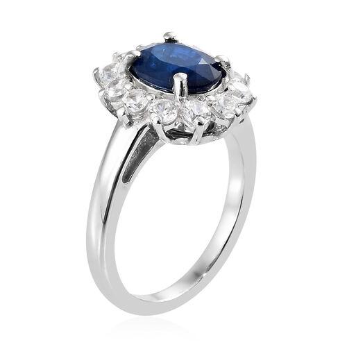 Blue Spinel (Ovl 2.00 Ct.), Natural Cambodian Zircon Sunburst Ring in Platinum Overlay Sterling Silver 3.250 Ct.