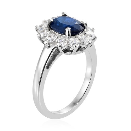 Blue Spinel (Ovl 2.00 Ct.), Natural Cambodian Zircon Sunburst Ring in Platinum Overlay Sterling Silver 3.250 Ct.