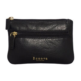 Assots London Mary 100% Genuine Leather Zip Top Coin Purse in Black (Size 12.5x8.5cm)