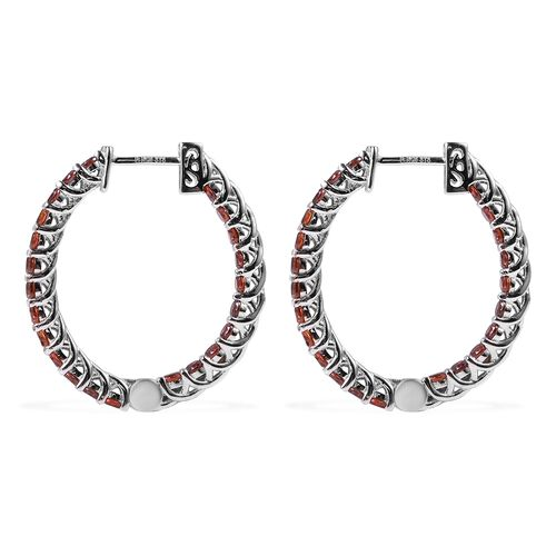 Lustro Stella Simulated Red Diamond (Rnd) Inside-Out Earrings (with Clasp) in Rhodium Overlay Sterling Silver