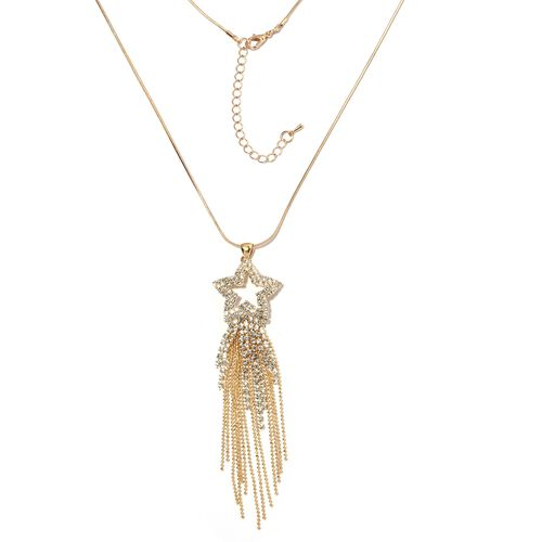 White Austrian Crystal (Rnd) Shooting Star Pendant With Chain (Size 30 with 2 inch Extender) in Yell
