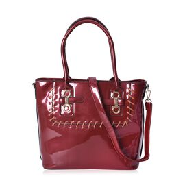 Wine Colour Tote Bag with Detachable Shoulder Strap and External Zipper Pocket (Size 39x29.5x13 Cm)