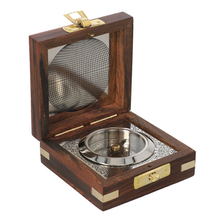 Handcrafted Wooden Box With Built in Silvertone Compass (Size 8.3X8.3X3.5 Cm) - Brown