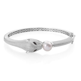 Designer Inspired-Freshwater Pearl and Boi Ploi Black Spinel Panther Bangle (Size 7.5) in Silver Pla