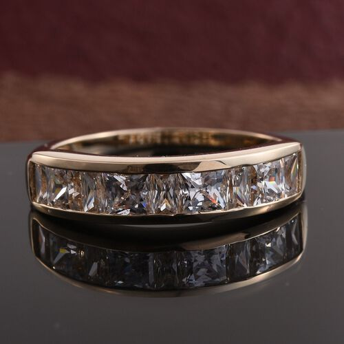 9K Yellow Gold 3.50 Ct  Half Eternity Ring Made with Swarovski Zirconia