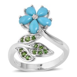 1.23 Ct Sleeping Beauty Turquoise and Russian Diopside Floral Ring in Rhodium Plated Sterling Silver
