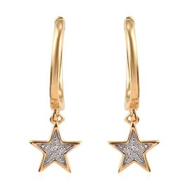 Diamond (Rnd) Star Hoop Earrings in 14K Gold Overlay Sterling Silver
