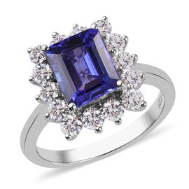 RHAPSODY 950 Platinum AAAA Tanzanite and Natural Diamond Ring 3.60 Ct, Platinum wt. 6.17 Gms