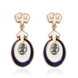 Ratanakiri Blue Zircon Enamelled Dangle Earrings (with Push Back) in 14K Gold Overlay Sterling Silve