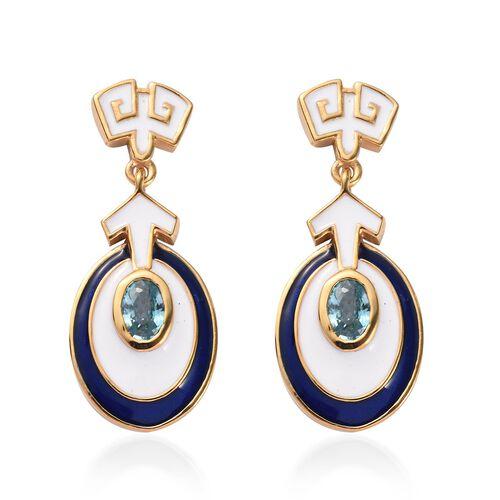Ratanakiri Blue Zircon Enamelled Dangle Earrings (with Push Back) in 14K Gold Overlay Sterling Silve