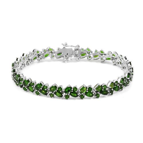 Limited Edition- Russian Diopside (Ovl) Bracelet in Rhodium Overlay Sterling Silver (Size 7) 13.750 Ct, Silver wt 10.30 Gms.