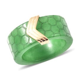 Green Jade Honey Comb Design Ring in Yellow Gold Overlay Sterling Silver 38.50 Ct.