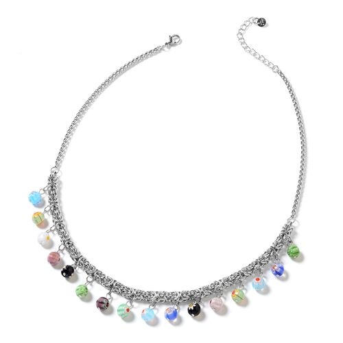 Multi Colour Murano Style Glass Necklace (Size 18 with 2 Inch Extender) in Silver Tone 35.000 Ct.