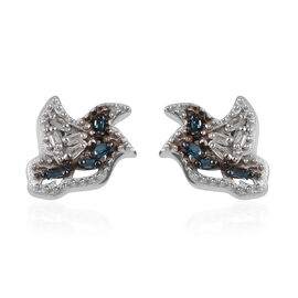 Blue Diamond (Bgt), Diamond Stud Earrings (with Push Back) in Platinum Overlay Sterling Silver 0.050