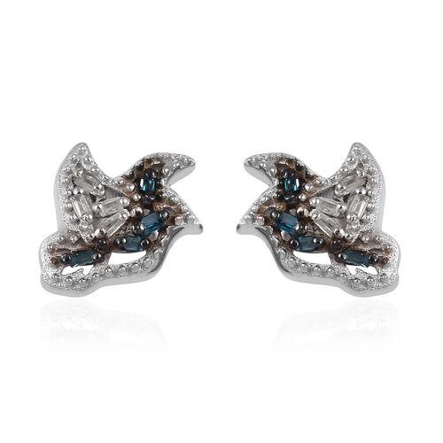 Blue Diamond (Bgt), Diamond Stud Earrings (with Push Back) in Platinum Overlay Sterling Silver 0.050