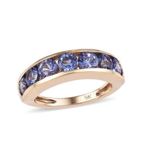 2.10 Carat Tanzanite Half Eternity Band Ring in 9K Gold 2.72 Grams