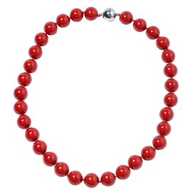 Coral Colour Shell Pearl (Rnd 13-15 mm) Necklace (Size 20) with Magnetic Lock in Silver Plated