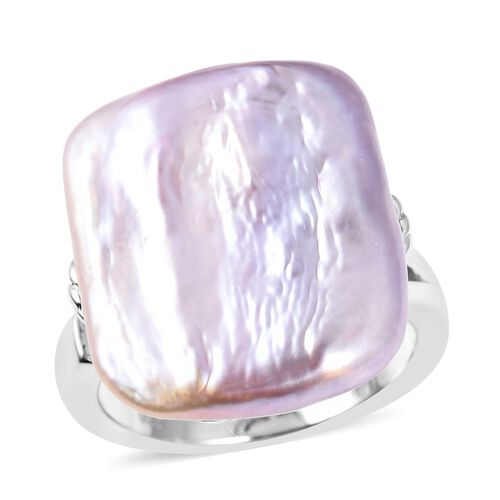 Extremely Rare Size Freshwater Pearl Ring in Rhodium Plated Sterling Silver 4.8 Grams