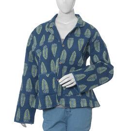 100% Cotton Blue Colour Reversible Quilted Jacket (Size 110.5x63.5 Cm, M/L)