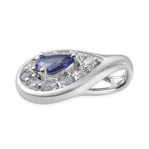 Tanzanite and Natural Cambodian Zircon Pendant in Platinum Overlay Sterling Silver 1.25 Ct.