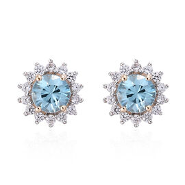 9K Yellow Gold AA Blue Zircon (Rnd), Natural Cambodian Zircon Stud Earrings (with Push Back) 1.550 C