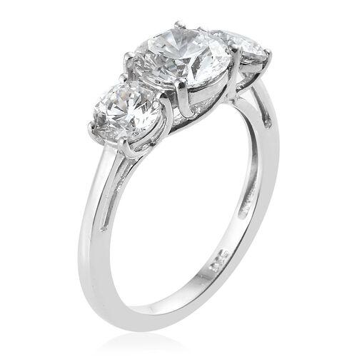 J Francis - Platinum Overlay Sterling Silver (Rnd) Three Stone Ring Made With SWAROVSKI ZIRCONIA