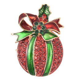 Christmas Red and Green Austrian Crystal Enamelled Brooch in Yellow Gold Tone