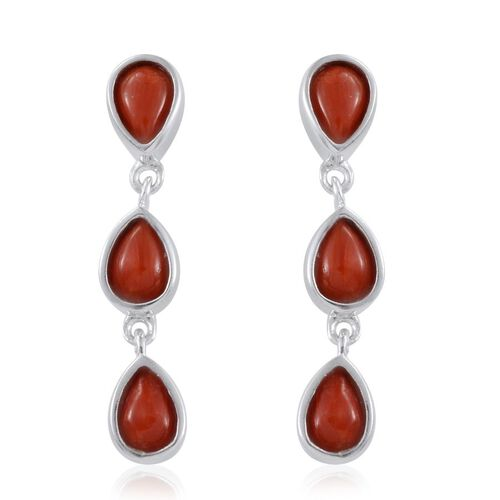 Mediterranean Coral (2.25 Ct) Platinum Overlay Sterling Silver Earring  2.250  Ct.