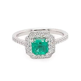 RHAPSODY 950 Platinum AAAA Boyaca Colombian Emerald (Oct 5.43x5.55mm), Diamond (VS/E-F) Ring 1.30 Ct