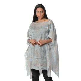 100% Mulberry Silk Kaftan One Size (90x100 Cm) - Sky Blue