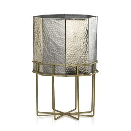 Home Decor - Hammered Octagon Shaped Fire Pit  Planter with Stand (Size 40x26 Cm) - Silver and Golde