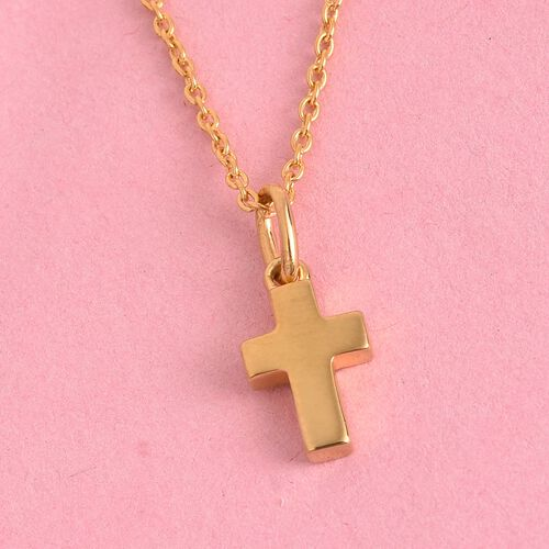 14K Gold Overlay Sterling Silver Cross Pendant with Chain (Size 18)