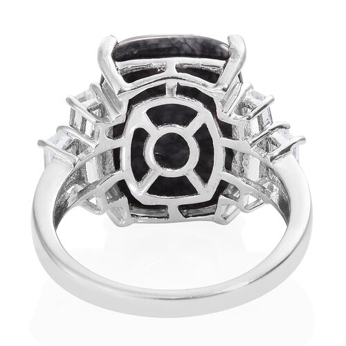 Austrian Pinolith (Cush 13.45 Ct), White Topaz Ring in Platinum Overlay Sterling Silver 15.000 Ct.