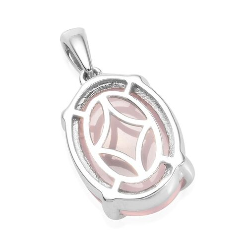 Rose Quartz (Ovl 16x12mm) Pendant in Platinum Overlay Sterling Silver 7.03 Ct.